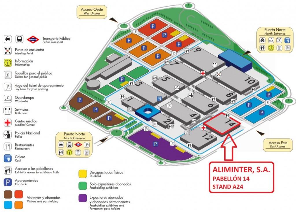 Ubicación del stand de Aliminter, S.A.